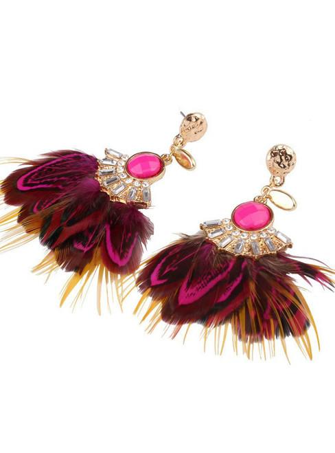 Faux Feather Drop Earrings Ethnic Rhinestone