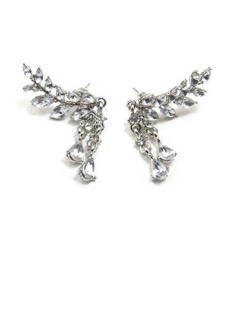 Fashion Faux Crystal Teardrop Leaf Earrings