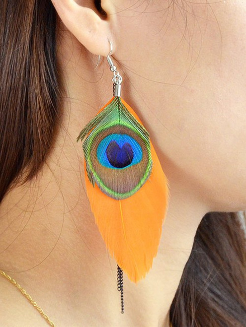 Cheap Bohemian Peacock Feather Earrings