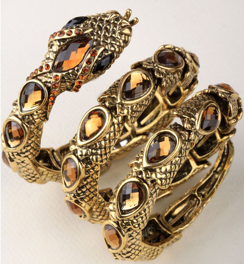 jewelry antique gold silver color  punk rock crystal bangle