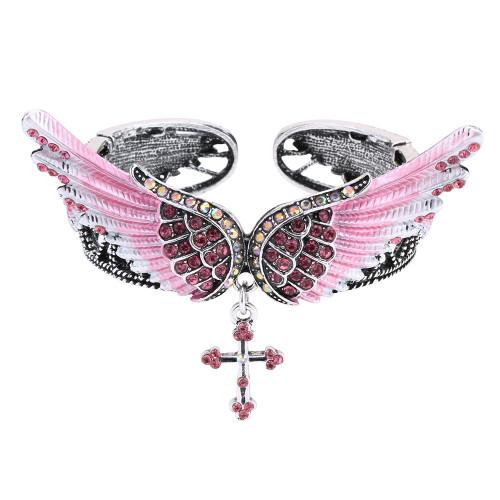 crystal antique silver color bracelet bangle for women girls biker jewelry