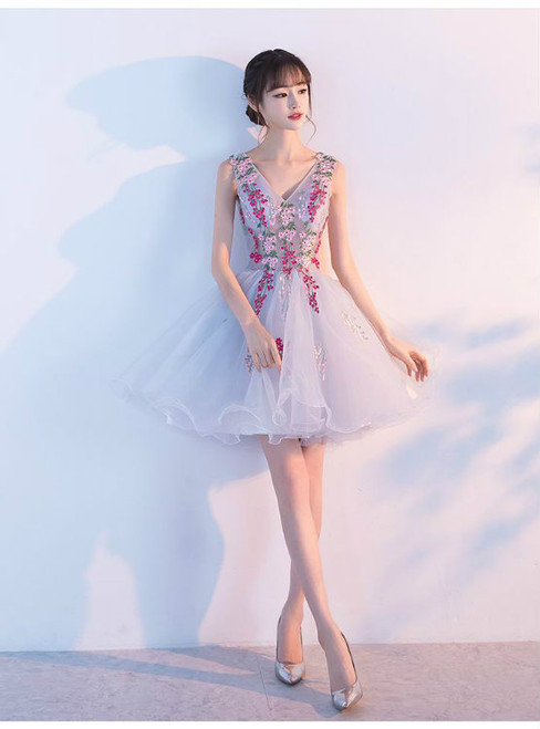 Straps Sexy Illusion  Ball Gown Prom Dresses Short 2017 V-neck Shoulder