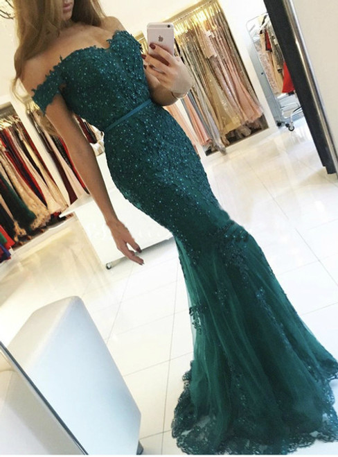 Green Mermaid Tulle Off The Shoulder Appliques Prom Dress