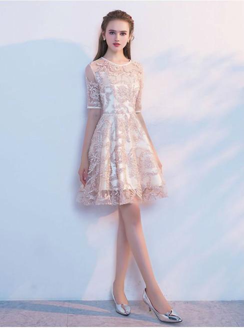 2017 New Elegant Champagne  Half Sleeves Short Evening Dresses