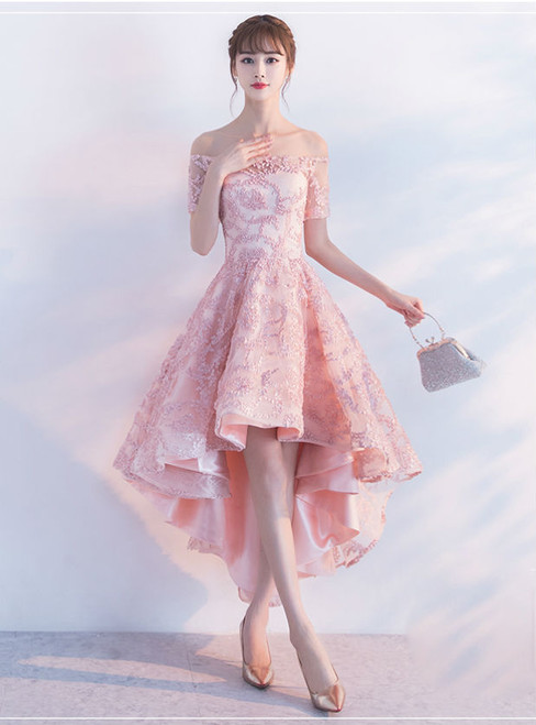 Pink Off The Shoulder High Low Homecoming Dresses