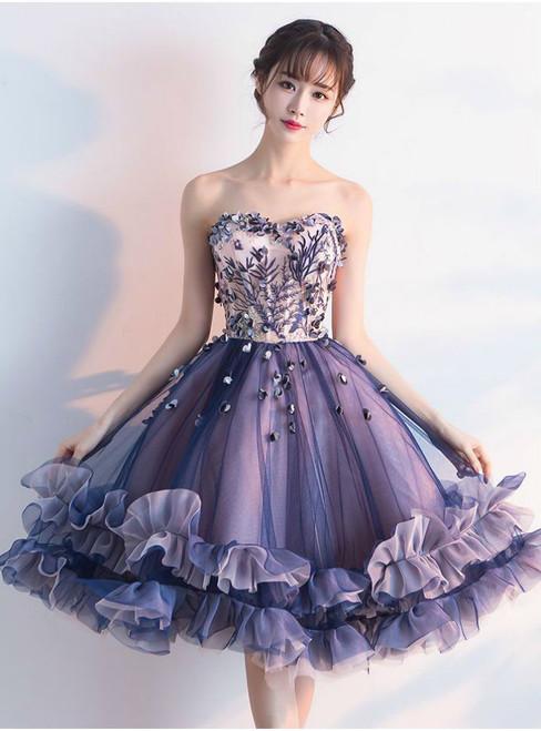Prom Dresses 2017 Sweetheart Luxury Ruffles Ball Gown Short