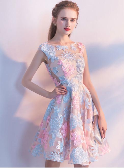 Homecoming Dresses Short 2017 O-neck Sleeveless A-line Lace