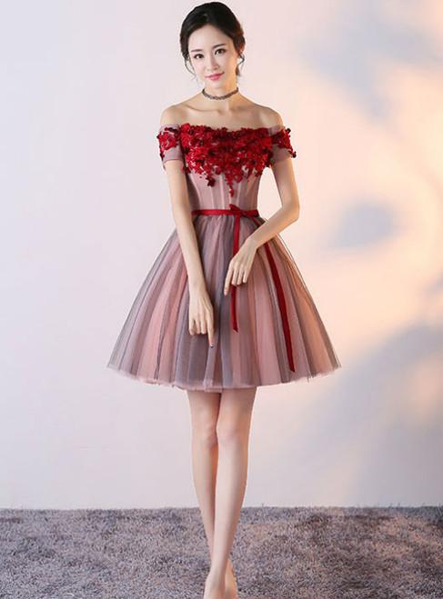 Short Junior Formal Dress Off The Shoulder Homecoming Dresses