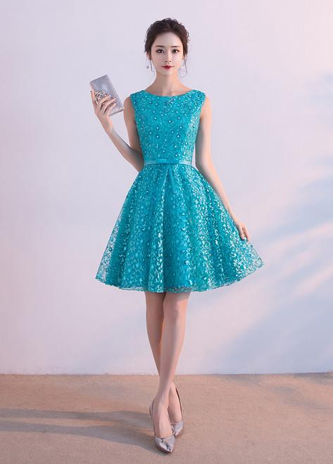 2017 Summar Sleeveless Blue Short Homecoming Dresses