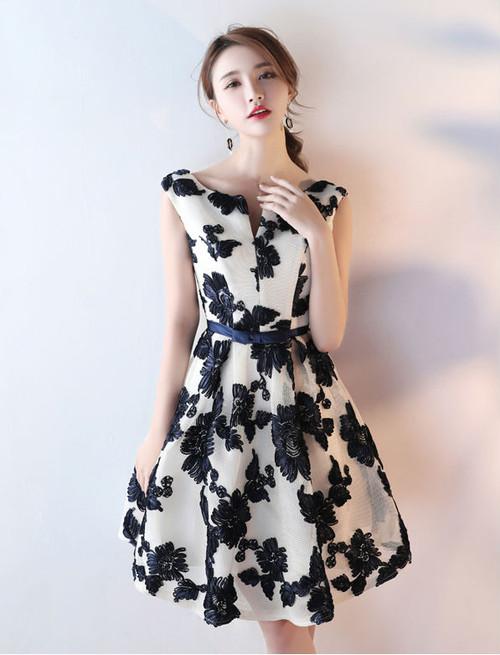 Short Homecoming Dresses 2017 Elegant Black And White
