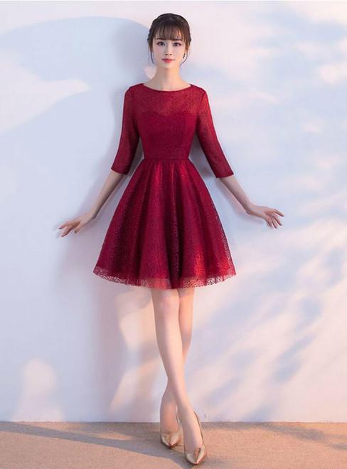 Prom Dresses Short 2017 Elegant O-neck Half Sleeves Lace Burgundy