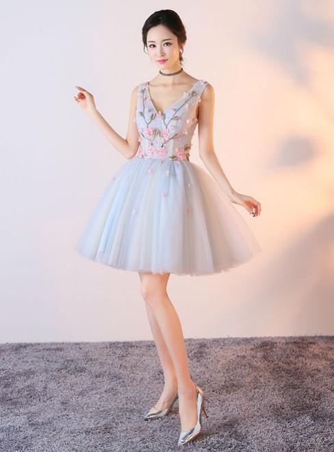 V-neck Shoulder Straps Floral Tulle Short Prom Dresses 2017 Sexy
