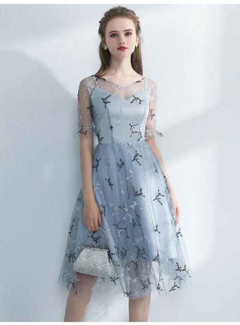 2017 Elegant Silver Gray Homecoming Dress Elegant Evening Dresses Short With Sleeves