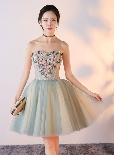 2017 New Arrival Sweethear Sleeveless Strapless Prom Dresses Short