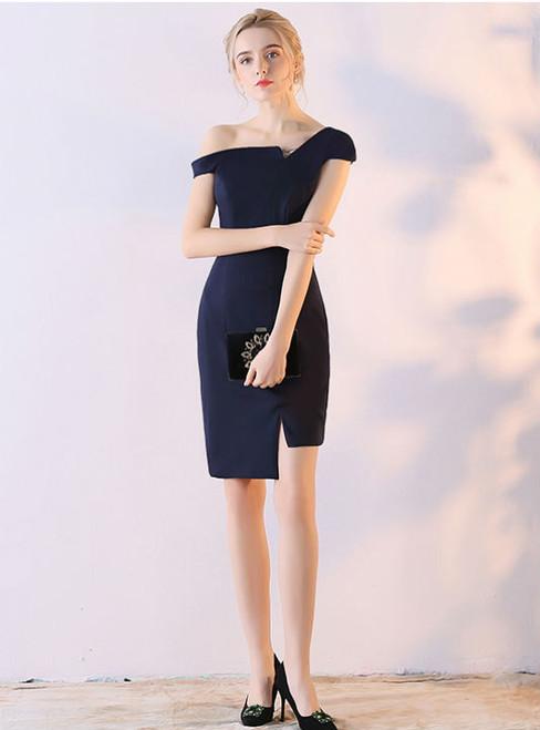 Knee Length Cocktail Dresses 2017 Navy Blue Elegant One Shoulder