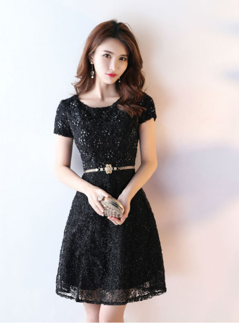 Simple Lace Short Prom Dresses Black Cocktail Dresses With Cap