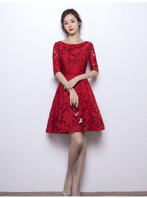 Knee Length Cocktail Dresses 2017 Elegant O-neck Half Sleeves