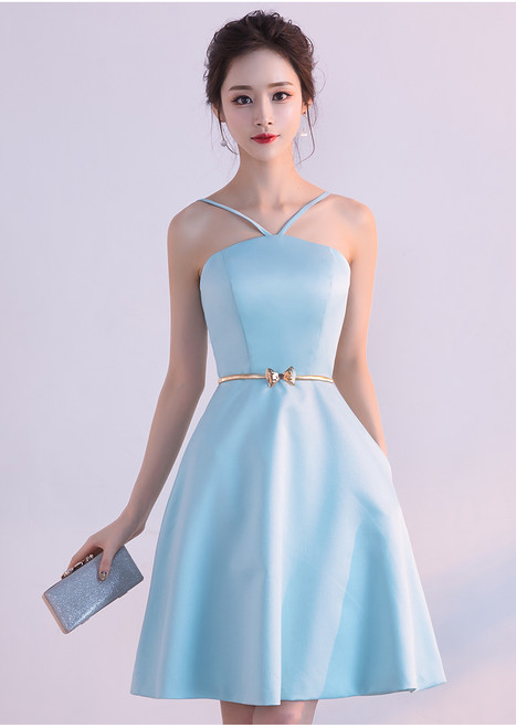 Sexy Backless Short Party Dress Sky Blue Cocktail Dress 2017 New Arrival A-line