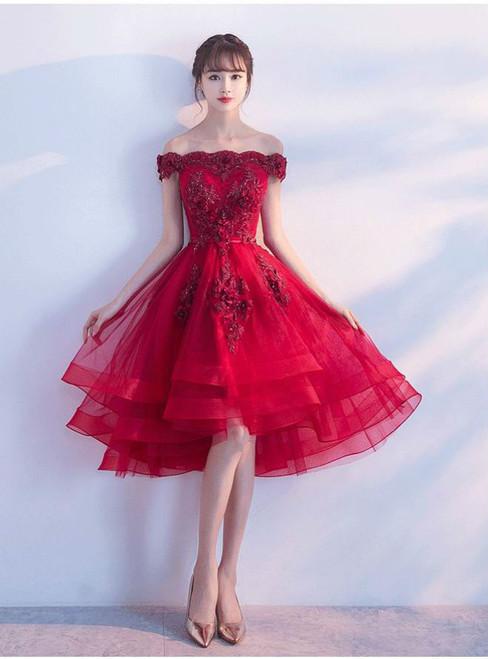 Boat Neck Off The Shoulder Luxury Appliques High Low Prom Dresses Elegant