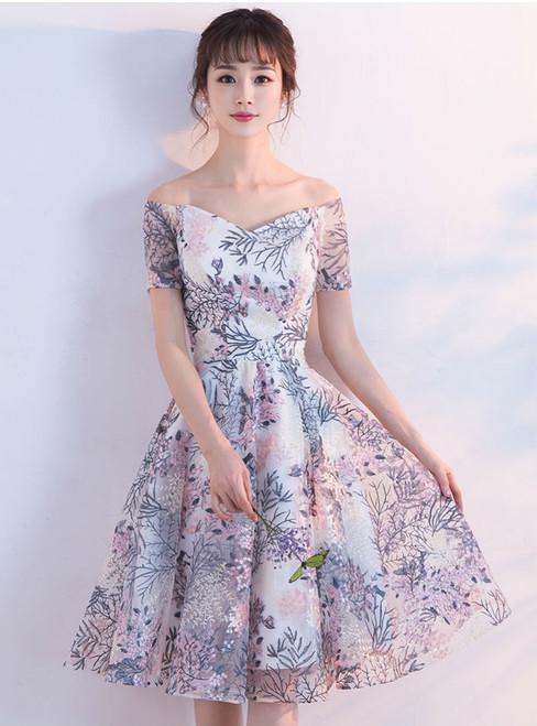 2017 New Arrival Lace Short graduation dresses Off Shoulder Prom Dresses