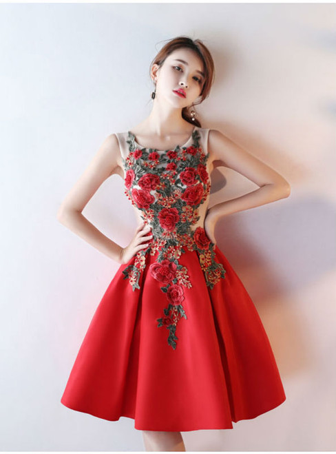 Ball Gown Short Prom Dresses 2017 Luxury Flower Appliques Beading