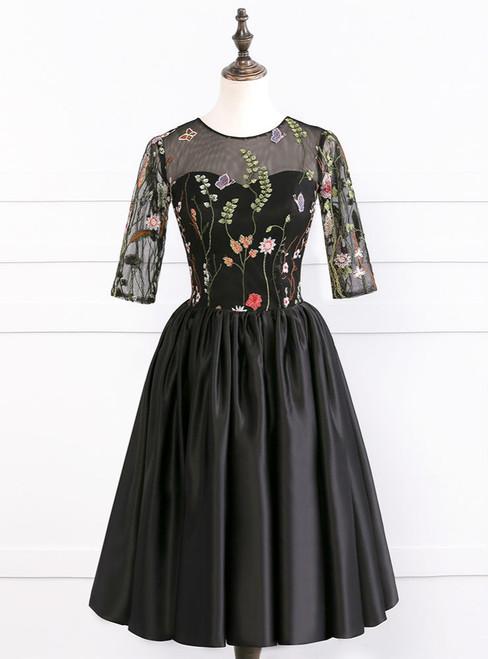 2017 Elegant Half Sleeves Satin Ball Gown Short Sexy See Through Black Prom Dresses