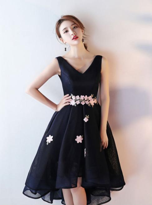 Backless Black Prom Dresses 2017 High Low Prom Dresses Sexy V-neck Shoulder Straps