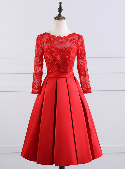 Sexy Backless Red Short Evening Dress 2017 New Elegant Boat Neck
