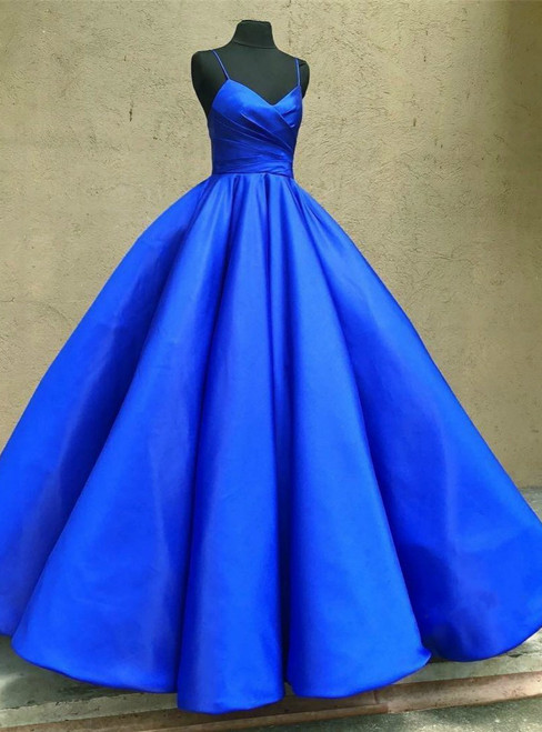 Spaghetti Straps Sweetheart Royal Blue Satin Prom Dresses Ball Gowns