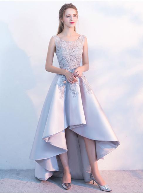 Elegant O-neck Sleeveless 2017 New High Low Evening Dress