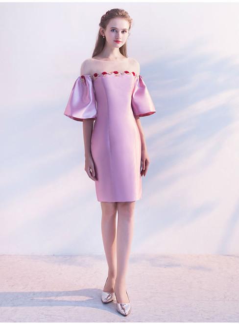 Pink Satin Sheath Trumpet With Beading Prom Dress