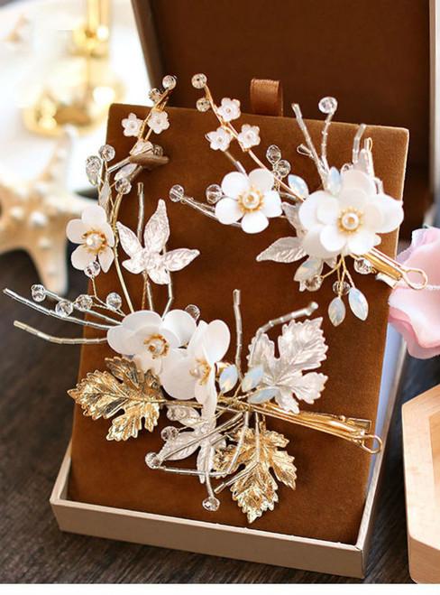wedding tiara pearl shell wedding bride wedding hair jewelry handmade flower leaf