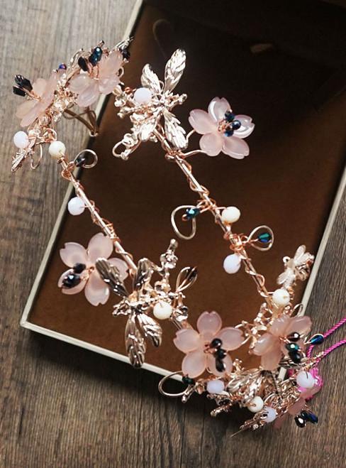 handmade headdress for women pink flower dragonfly delicate bridal tiara