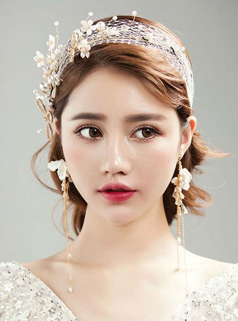flower Earrings sets party hair Simple hair ribbon gauze veil with crystal