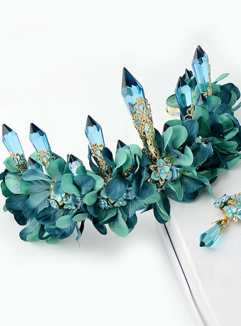 wedding hair accessores green fabric flower long icicle queen crown luxury tiara