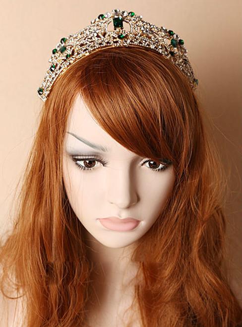 Aristocratic bride crown New Baroque gold dark green rhinestone