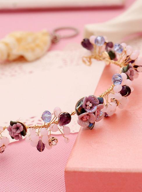 fashion rhinestone bride crown wedding hair pearl ceremic flower tiara headband