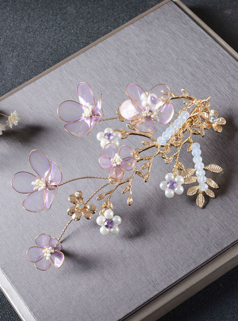 Wedding Bride tiara golden branches head hair Jewelry transparent purple flower