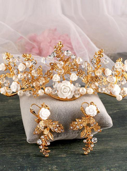 golden Tiara Baroque bride wedding dress handmade crystal crown