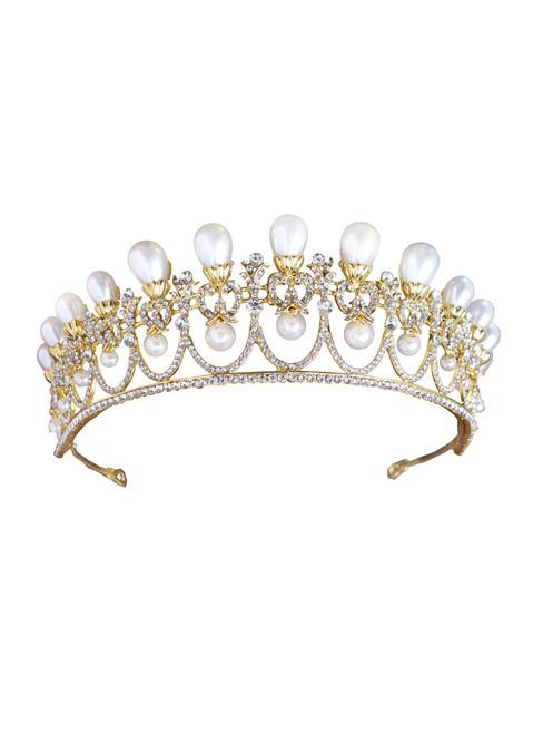Wedding Queen Crowns Princess Tiara Gold Simulated Pearl Tiara