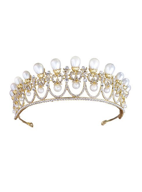 Wedding Queen Crowns Princess Tiara Gold Simulated Pearl Tiara