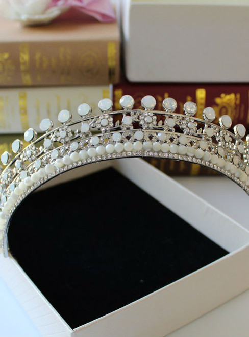 crystal bridal headdress white wedding crown princess quinceanara tiara