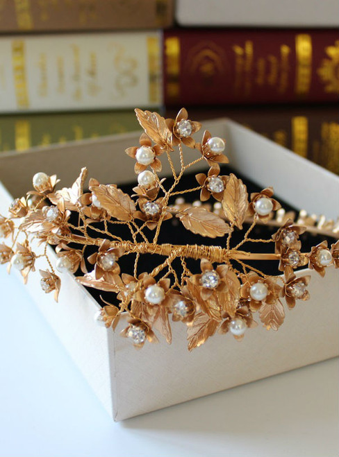 Bridal tiara pink women party hair ornaments Flower gold alloy new design