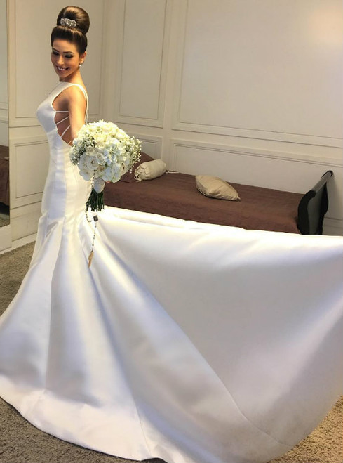 Backless Satin Mermaid Wedding Dress with Long Train