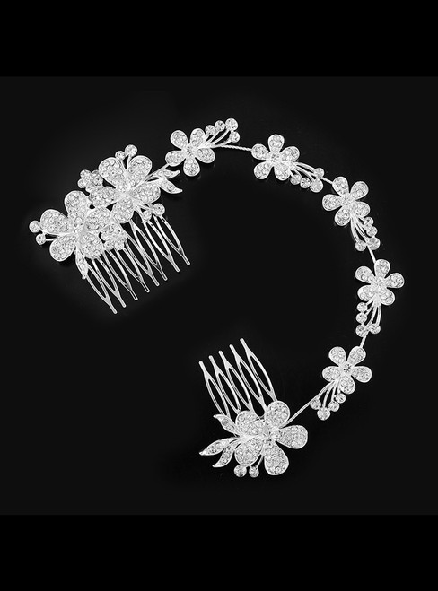Bride Jewelry Pearl Rhinestone Tiara Comb