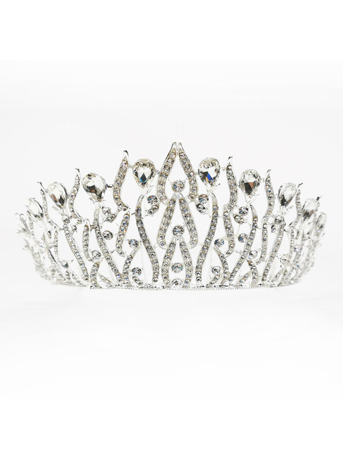 European Golden Pearl Crystal Wedding Tiara Church Bride Jewelry