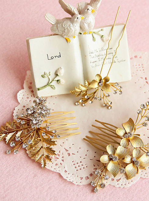 bridal hair accessories styling wedding 3pcs/lot Korean star fashion gold comb hairpins