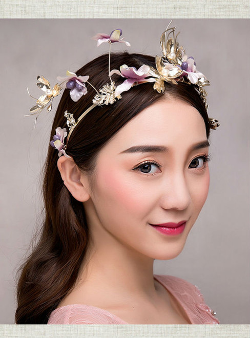 sweet tiara for brides wedding hair jewelry butterfly cotton flower bride crown
