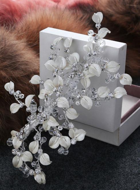 wedding hair jewelry bride white leaves wedding large crown crystal
