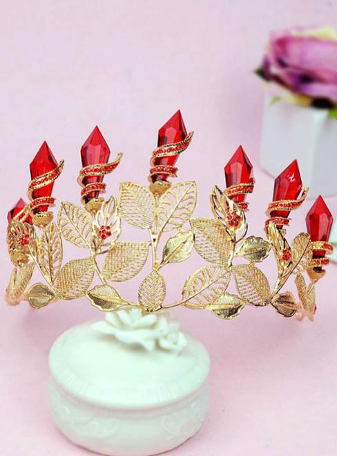 bride wedding tiara bridal headdress goddess red retro baroque gold leaf crown